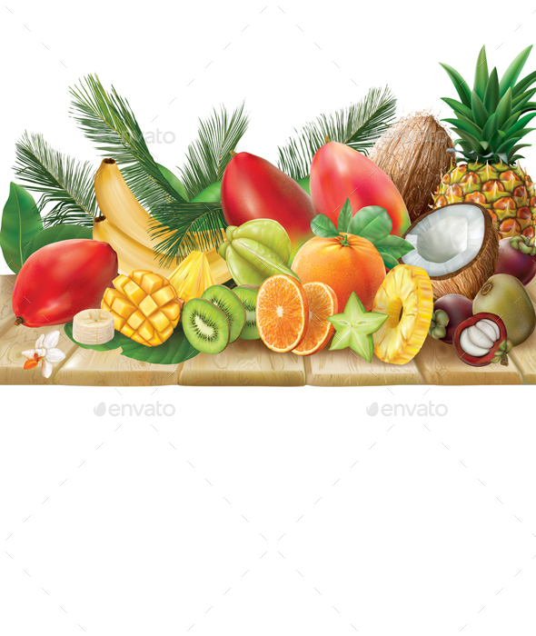 Tropical Fruits on a Wooden Surface - Food Objects
