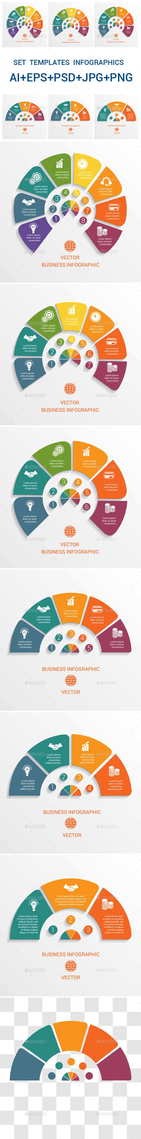 Data Elements For Template infographics 3,4,5,6,7,8, positions. - Infographics