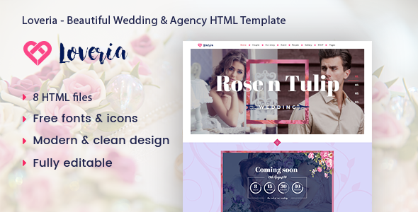 Loveria – Beautiful & Awesome Wedding Template.