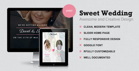 Sweet Wedding -  Responsive & elegant wedding Template