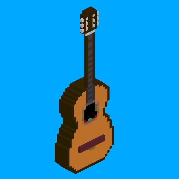 Voxel Classical Acoustic Guitar - 3DOcean Item for Sale