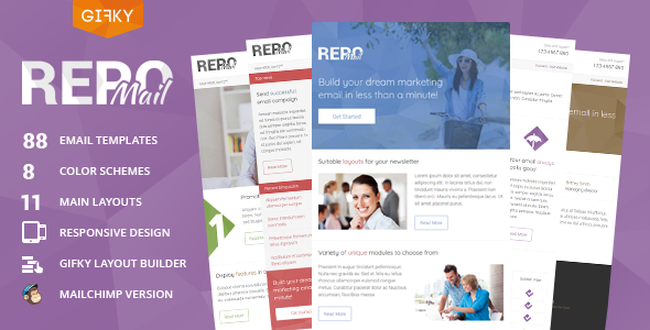 Repo Mail – Responsive Email Template + Access to Gifky Layout Builder
