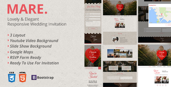 Mare - Lovely & Elegant Wedding Invitation Landing Page