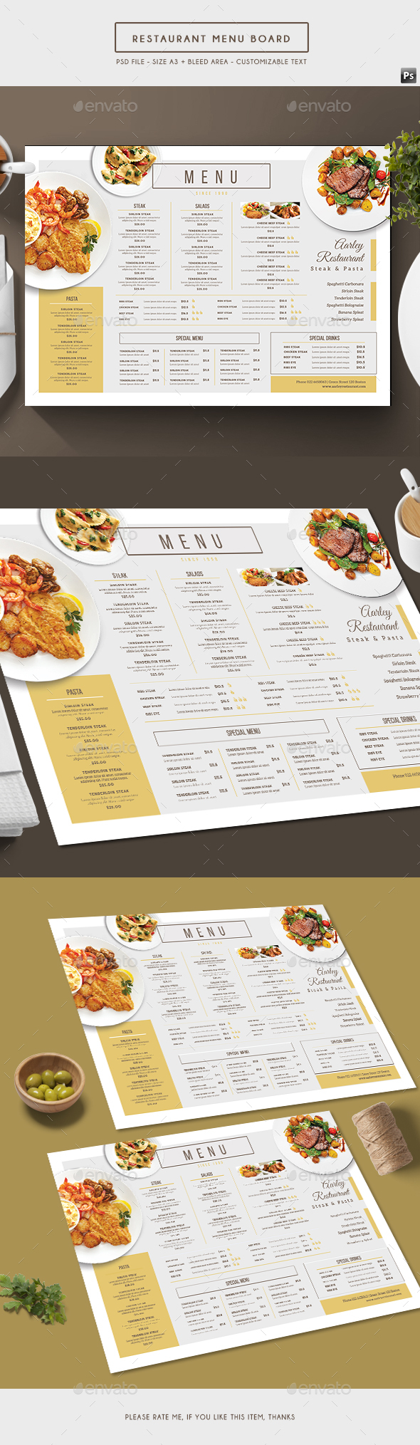 Simple Restaurant Menu Board - Food Menus Print Templates