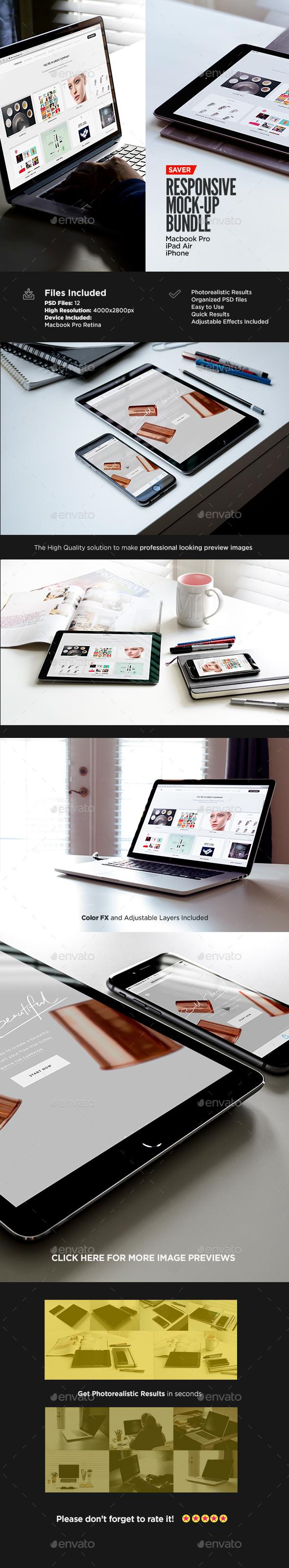 Responsive Screen MockUp Pack   Bundle Edition - Multiple Displays
