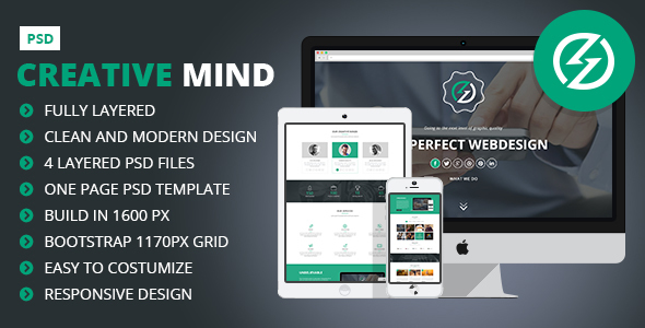 Creative Mind – Creative One Page PSD Template