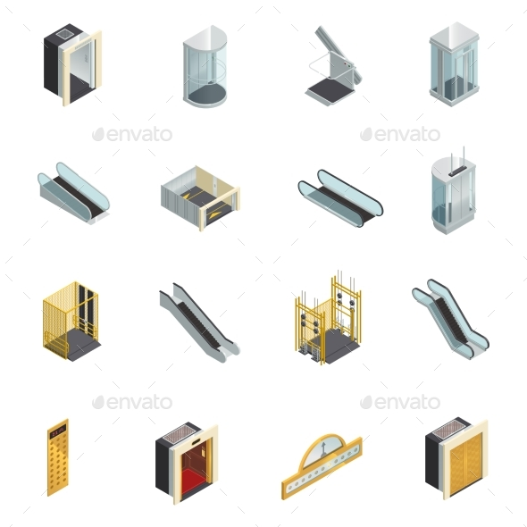 Elevator Isometric Elements Set - Miscellaneous Vectors