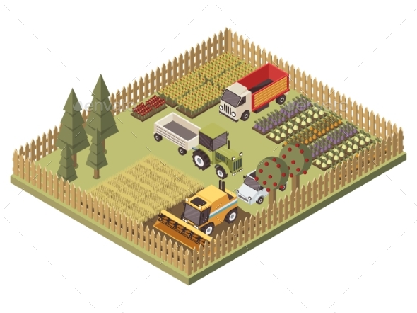 Agricultural Vehicles Isometric Design - Flowers & Plants Nature