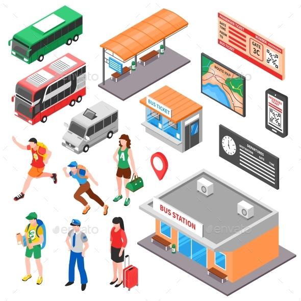 Bus Terminal Isometric Set - Travel Conceptual