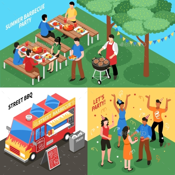 Barbecue Isometric Design Concept - Food Objects