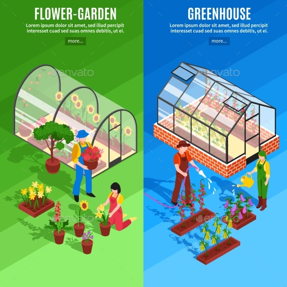 Greenhouse Vertical Banner Set - Buildings Objects
