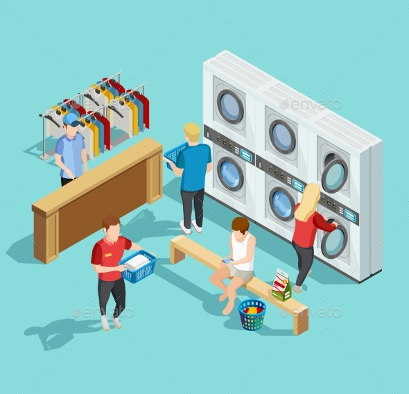 Self Service Laundry Facility Isometric Poster - People Characters