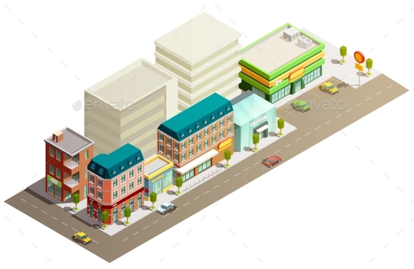 Isometric Store Buildings Concept - Buildings Objects