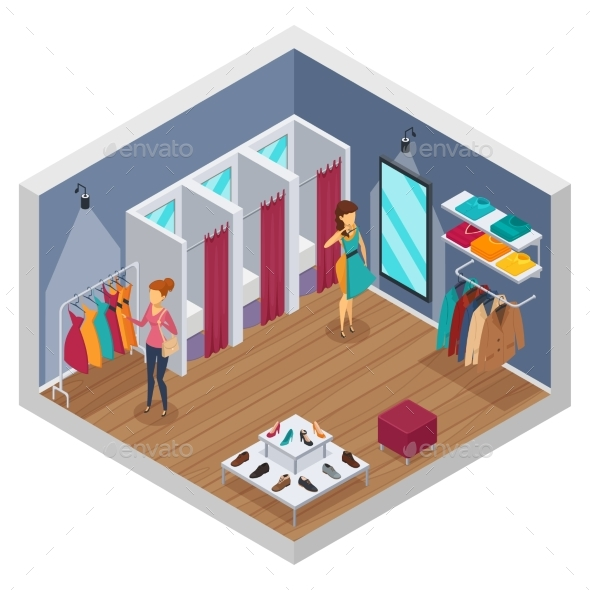Trying Shop Isometric Interior - Retail Commercial / Shopping