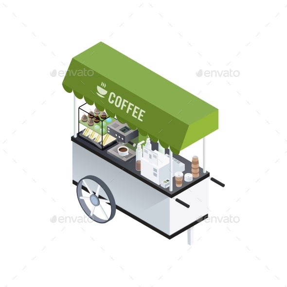 Coffee Cart Isometric Composition - Food Objects