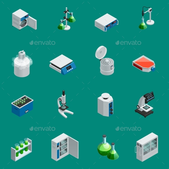 Scientific Laboratory Equipment Isometric Icons - Man-made Objects Objects