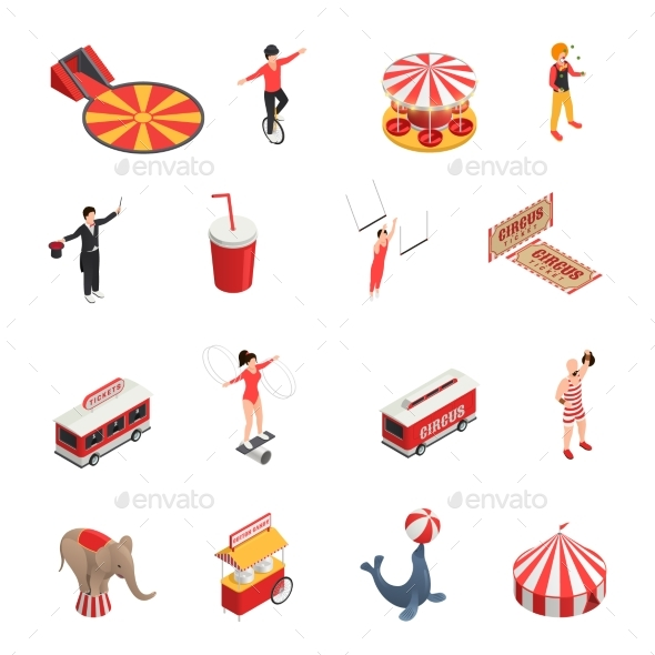 Circus Isometric Icons Set - Miscellaneous Vectors