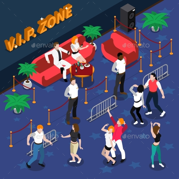 Celebrities in Nightclub Isometric Illustration - People Characters