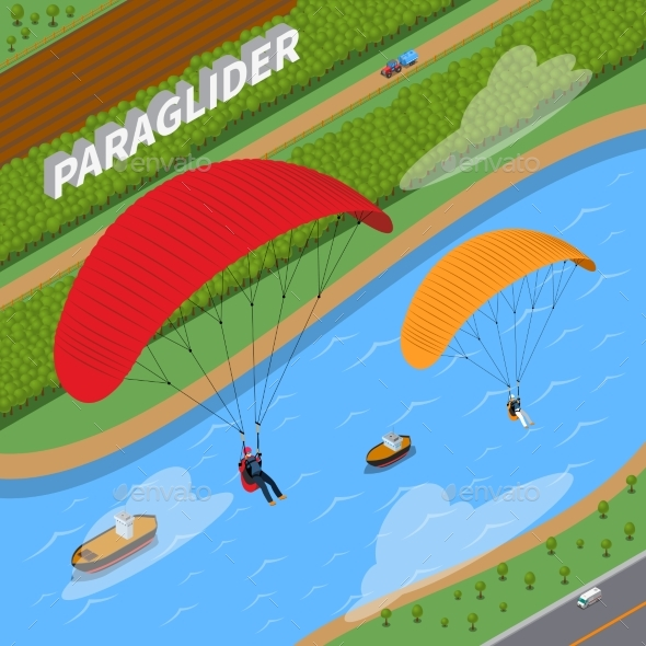 Paraglider Isometric Illustration - Sports/Activity Conceptual