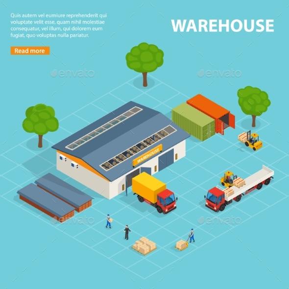 Warehouse Top View Isometric Design Composition - Miscellaneous Vectors