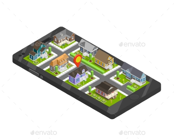 Town Buildings Smartphone Concept - Buildings Objects
