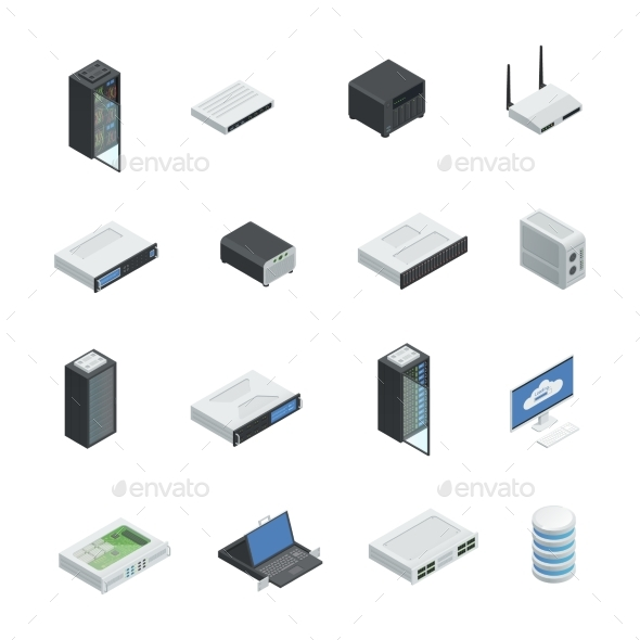 Data Center Icon Set - Computers Technology