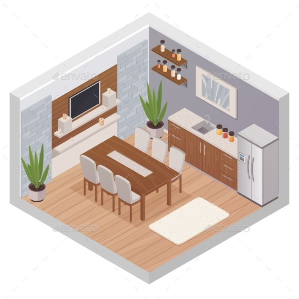 Isometric Kitchen Interior with TV - Man-made Objects Objects
