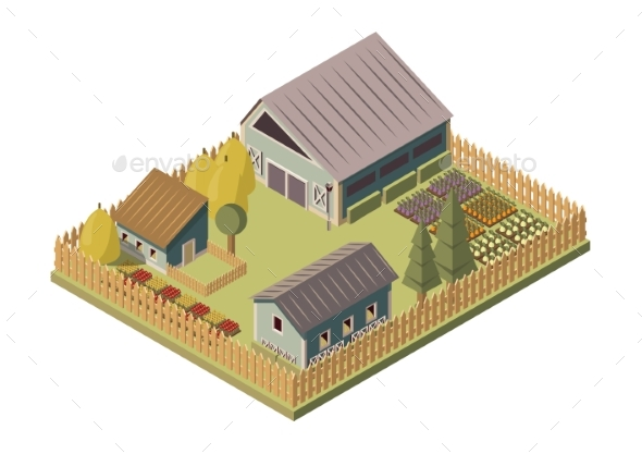 Ranch Isometric Layout - Buildings Objects