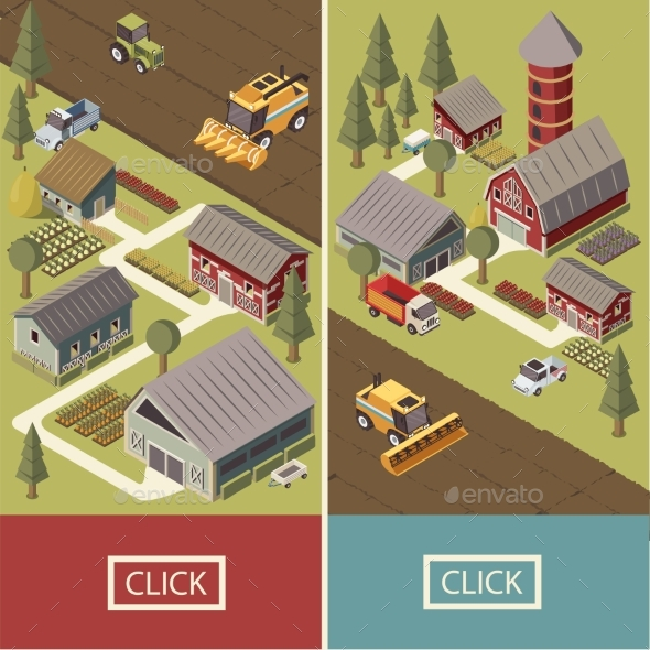 Farm Vehicles Isometric Banners - Man-made Objects Objects
