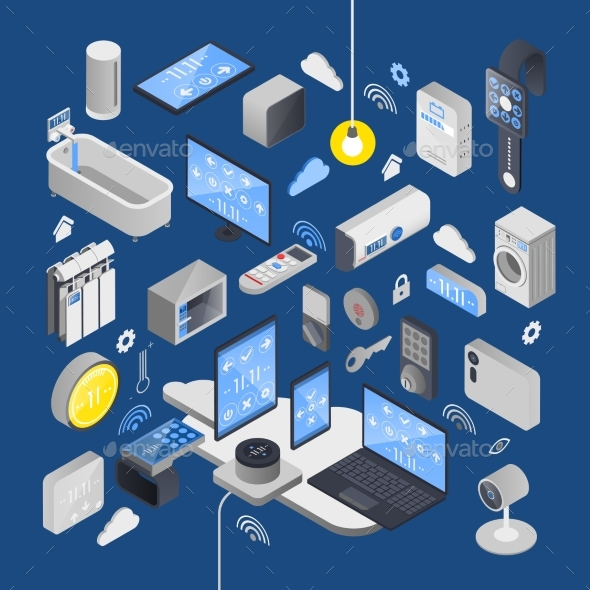 IOT Internet of Things Isometric Composition - Miscellaneous Vectors
