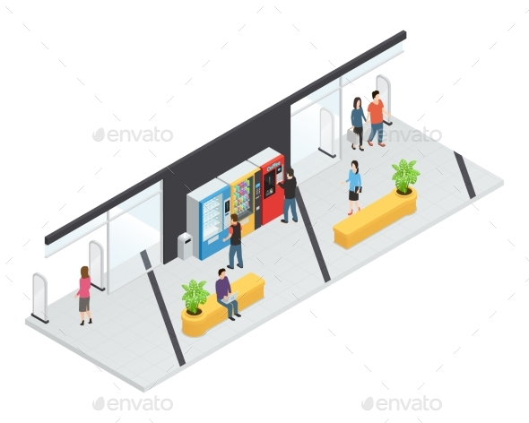 Vending  Machines Isometric Concept - Miscellaneous Vectors