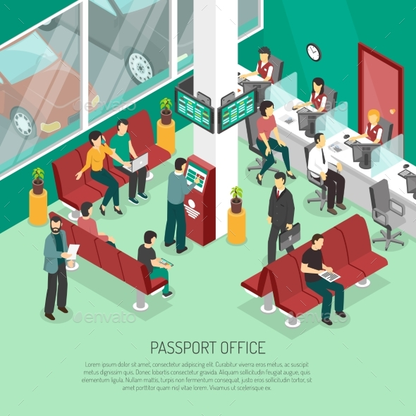 Passport Office Isometric Illustration - Concepts Business