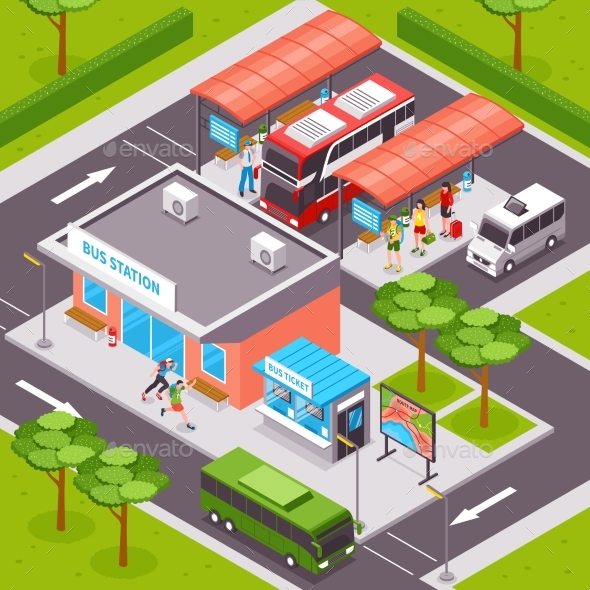 Bus Station Isometric Illustration - Miscellaneous Vectors