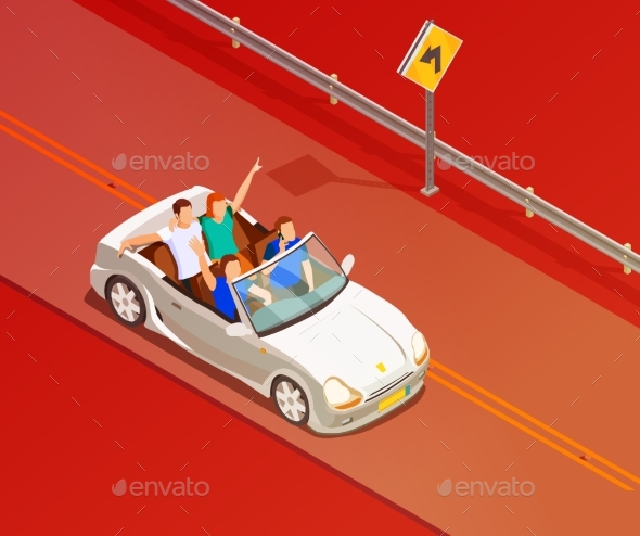 Friends Riding Luxury Car Isometric Poster - Man-made Objects Objects