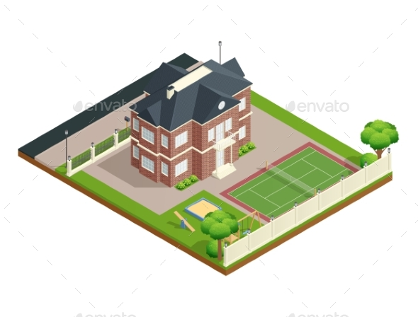 Suburb House Isometric Composition - Buildings Objects