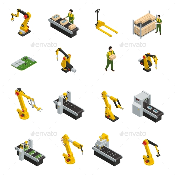 Robotic Machinery Isolated Symbols - Man-made Objects Objects