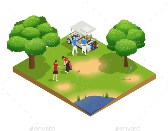 Green Golf Course Isometric Top View Composition - Sports/Activity Conceptual