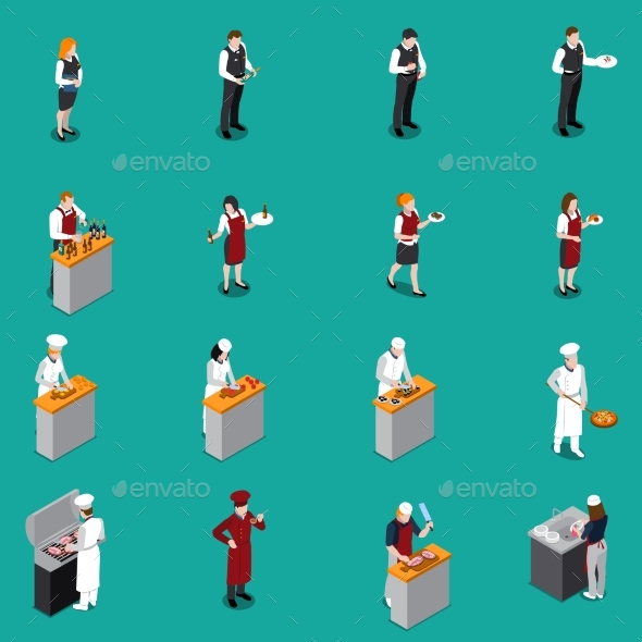 Restaurant Staff Isometric Set - People Characters