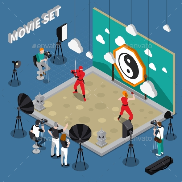Movie Set Isometric Illustration - Industries Business