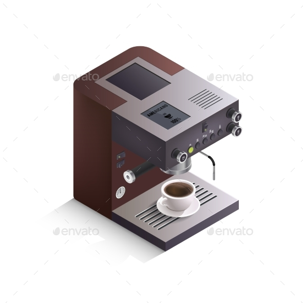 Coffee Machine Isometric Illustration - Food Objects