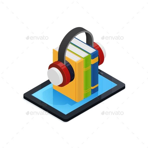 Online Audio Books Isometric Design - Miscellaneous Vectors