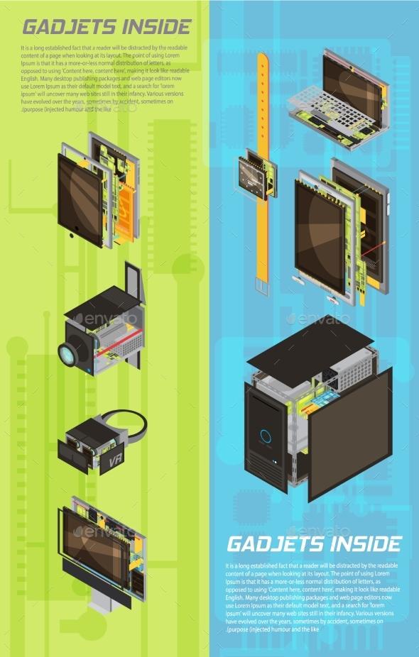 Gadgets Scheme Banner Set - Computers Technology