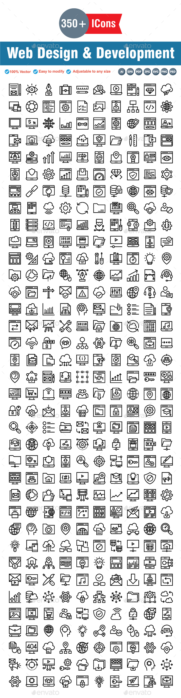 Web Design & Development Line icons - Web Icons
