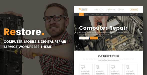 Restore - Computer, Mobile & Digital Repair Service WordPress Theme