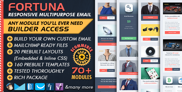 Ecommerce Email Builder - FORTUNA Multipurpose Business Email Marketing + Mailchimp Newsletter Ready - Newsletters Email Templates