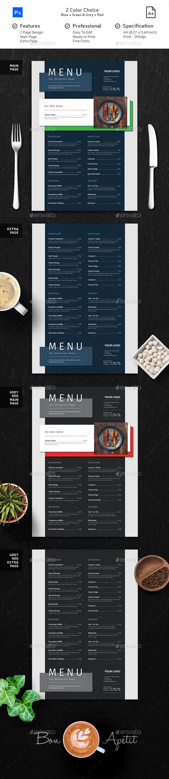 Clean Minimalist Modern Menu - Food Menus Print Templates