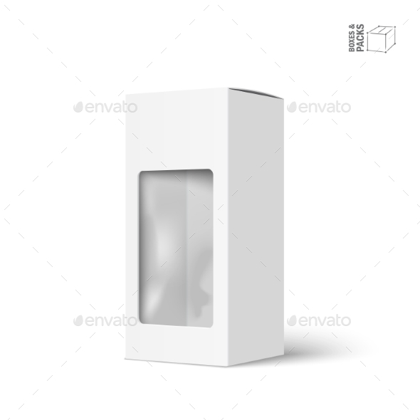White Vector Product Package Box with Window - Man-made Objects Objects
