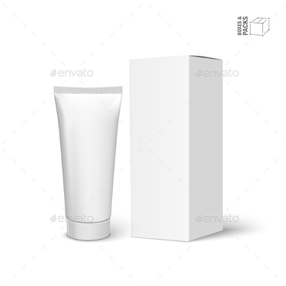 Realistic White Tube and Packaging - Man-made Objects Objects