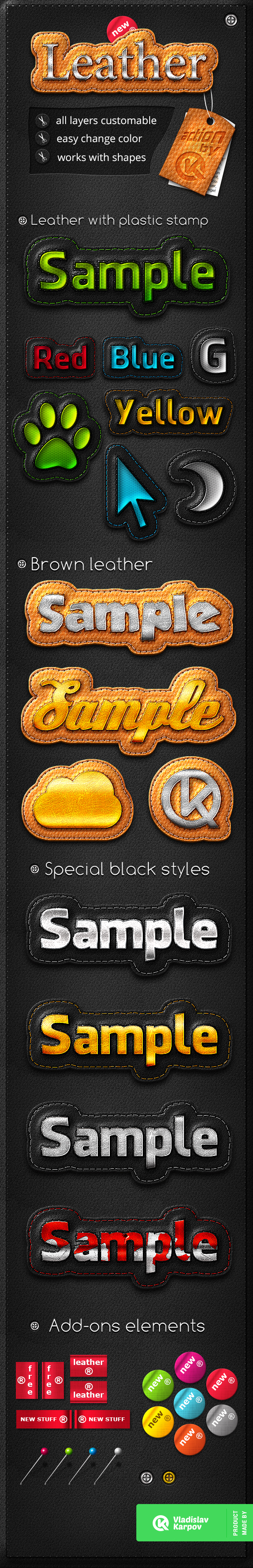 Leather Stripe Actions - Text Effects Actions