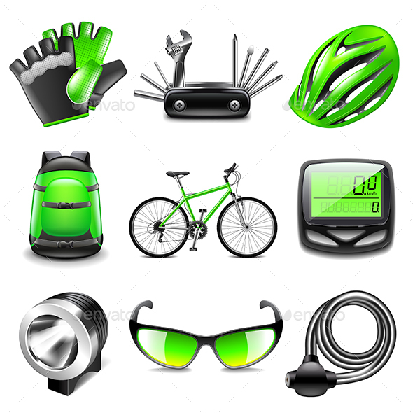 Cycling Icons Vector Set - Sports/Activity Conceptual